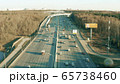 Low altitude aerial view of a wide highway in spring. Moscow, Russia 65738460