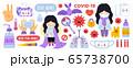 Big set of coronavirus prevention elements. 65738700