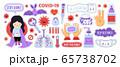 Coronavirus, covid-19, virus, medical mask, sanitizer. Girl staying safe at home, washing hands.  65738702