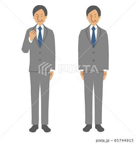 グレーのスーツを着て立つ中年男性(ガッツポーズ・直立) 65744915