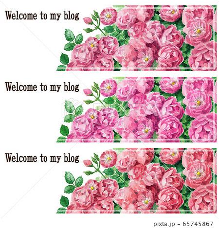 ブログ用ヘッダ画像ピンクのバラ3色セット 65745867