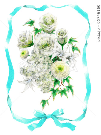 青いリボンと白いブーケのカード素材 65746160