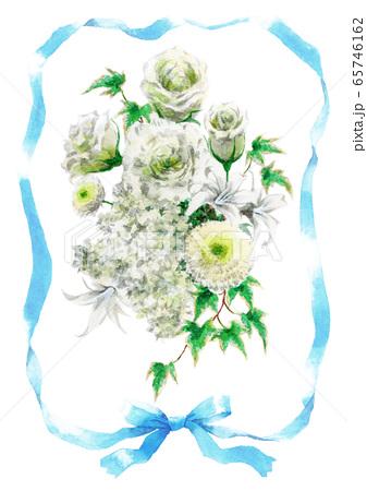 青いリボンと白いブーケのカード素材 65746162