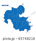 大分県地図 シンプル青 市区町村 65748216
