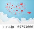 ペーパークラフト-空-雲-紙飛行機-ハート 65753666