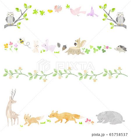 絵本風の森の動物の飾り罫 65758537