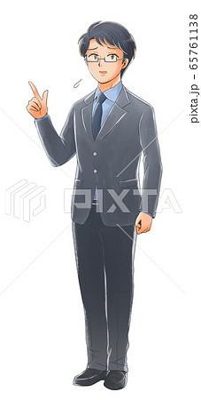 指を指す困り顔の社会人のイラスト 65761138