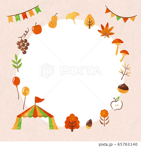 frame of autumn leaves and food 65763140