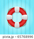 vector illustration of red lifebuoy on wood background 65768996