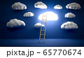 Golden ladder leading to glowing cloud over blue background. Concept of inspiration, leadership and business achievement. 3D illustration. 65770674