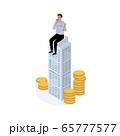 アイソメトリック ビジネスマンとお金 ビジネスイメージ イラスト  65777577