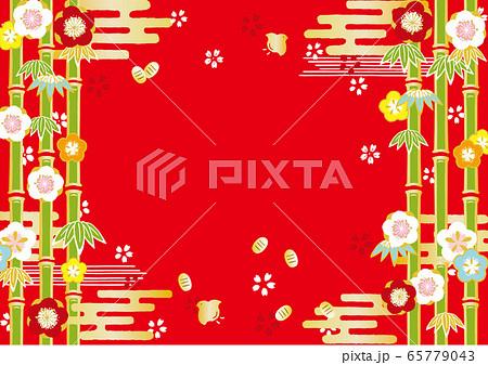 梅と竹林 お正月背景イラスト 65779043