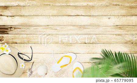 背景-砂浜-ウッドデッキ 65779095