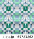 グリーン、ネイビーの市松柄を組み合わせた錯視シームレス柄 65783862