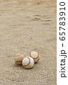土の上に置かれている3つの野球のボール(硬式ボール) 65783910