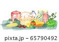 キッチンの食材の水彩画 65790492