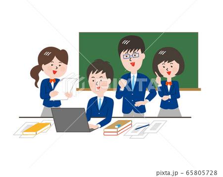 グループで課題を解決する学生 65805728