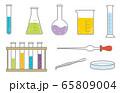 試験管 フラスコ 実験用具セット イラスト 65809004