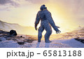 Sasquatch in the snowy mountains on a beautiful fog winter morning. Bigfoot in the mountains. Illustration for fabulous, fiction or fantasy backgrounds. 3D Rendering. 65813188