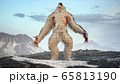 Sasquatch in the snowy mountains on a beautiful fog winter morning. Bigfoot in the mountains. Illustration for fabulous, fiction or fantasy backgrounds. 3D Rendering. 65813190