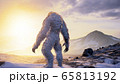 Bigfoot in the snowy mountains on a beautiful winter morning. Yeti in the mountains. Illustration for fabulous, fiction or fantasy backgrounds. 3D Rendering. 65813192