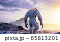The Yeti enjoys the morning sunrise, in the beautiful snowy mountains. Yeti in the winter mountains. Illustration for fabulous, fiction or fantasy backgrounds. 3D Rendering. 65813201