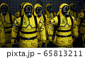 Doctors in yellow protective suits lined up before the start of the working day. People in a suit of bacteriological protection and gas mask. 3D Rendering. 65813211