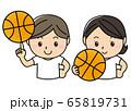 男女01_03(スポーツ・バスケ・バスケットボールをもって笑う男女ペア) 65819731