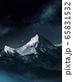 山 雪山 背景 流れ星 山脈  65831532