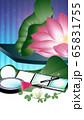 コスメと蓮の花リラクゼーションやエステのイメージイラスト縦スタイルワイドバーチャル背景素材 65831755