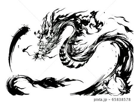龍、干支、白黒 65838578