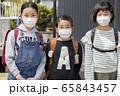 マスク姿で並ぶ小学生 通学 登校 65843457