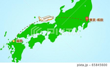シンプルな飛行機移動の説明イラスト(福岡発-成田着) 65845600