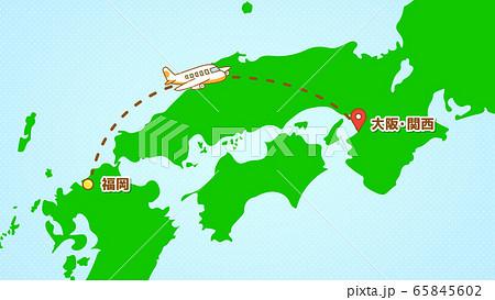 シンプルな飛行機移動の説明イラスト(福岡発-関西着) 65845602
