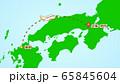 シンプルな飛行機移動の説明イラスト(福岡発-伊丹着) 65845604