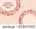 2021年丑年 縁起物の年賀状テンプレート 65847405