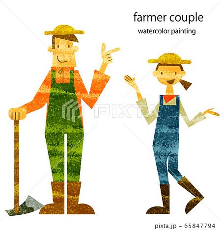 ファーマーズマーケット 農家のカップル 水彩テクスチャ 65847794