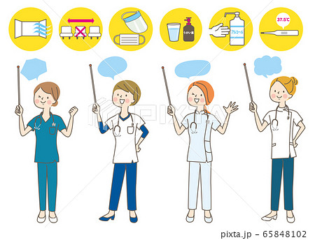 若い女性 医師 看護師 整体師 白衣 指示棒 表情セット 65848102