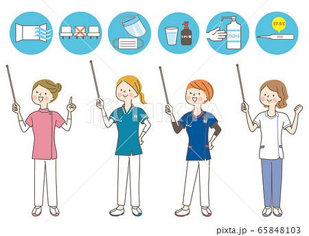 若い女性 医師 看護師 整体師 白衣 表情セット 65848103