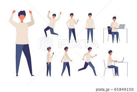 歩く、座る、走る、様々な全身ポーズの男性イラスト 65849150