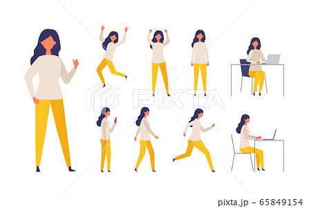 歩く、座る、走る、様々な全身ポーズの女性イラスト 65849154