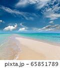 white sandy sea spit beach leading into ocean 65851789