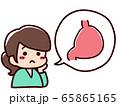 健康を悩む女性 吹き出し 内臓 胃 65865165