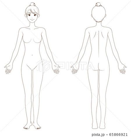 全身 女性 裸 目閉じる ビキニ 白(色つき)のイラスト素材