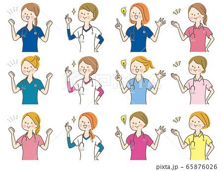若い女性 医師 看護師 整体師 白衣 表情セット 65876026