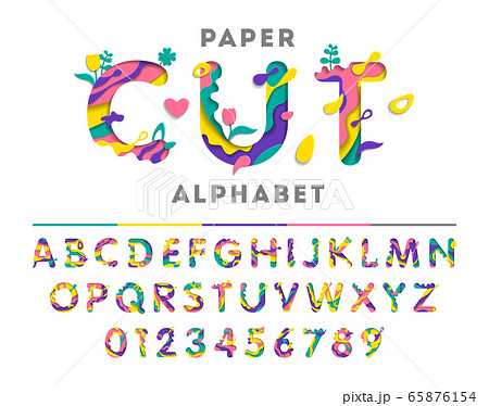 Colorful alphabet with abstract paper cut shapes or liquid paint. Paper cut style. Art carving font with flowers and leaf. Vector illustration. 65876154