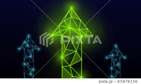 Business growth concept. Glowing polygonal arrows pointing upwards on dark background, illustration 65876156
