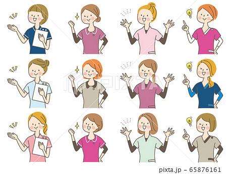 若い女性 医師 看護師 整体師 白衣 表情セット 65876161