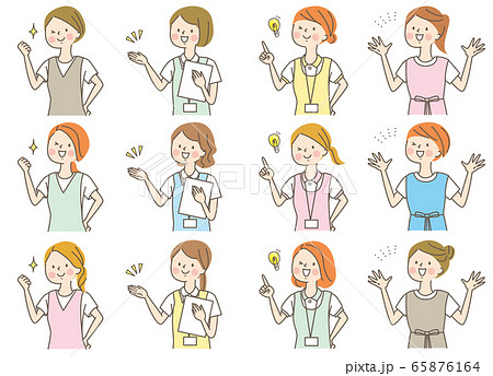 若い女性 医師 看護師 整体師 白衣 表情セット 65876164