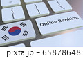 Online Banking text and flag of South Korea on the keyboard. Internet finance related conceptual 3D rendering 65878648